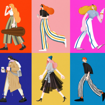 "Big ""Walking Girls"" Illustrations by Ren Qin"