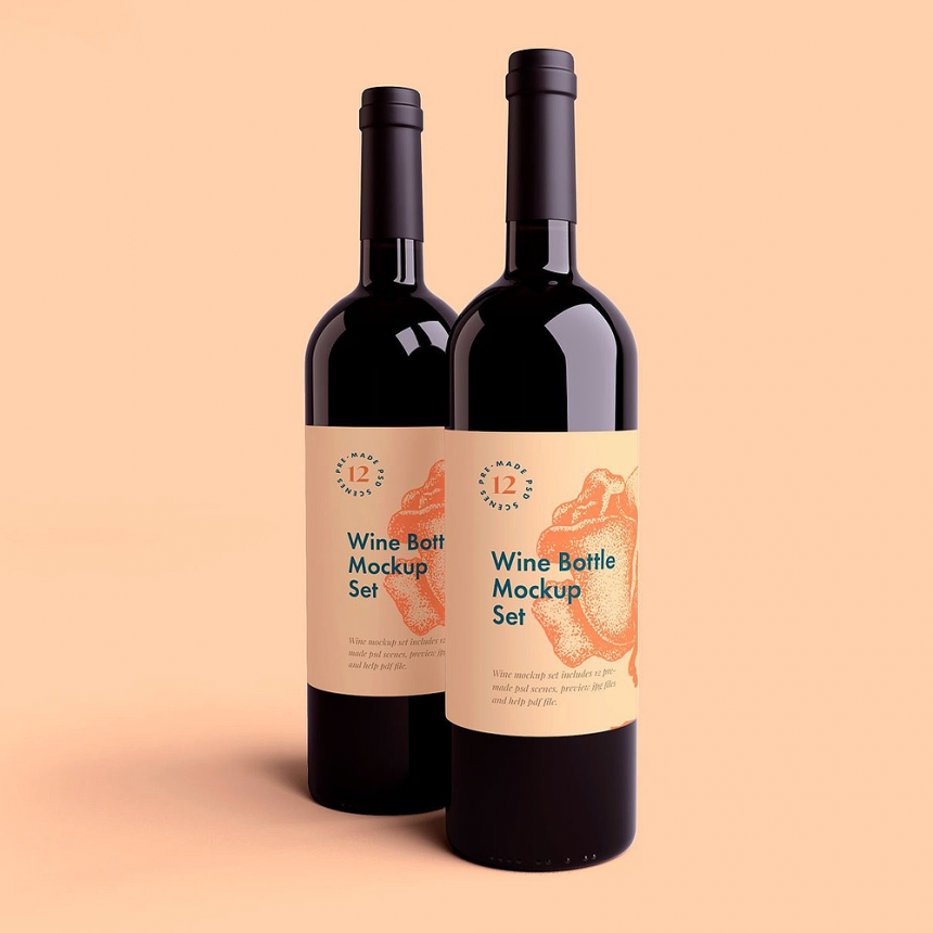 50+ Gorgeous Wine Bottle PSD Mockup Templates