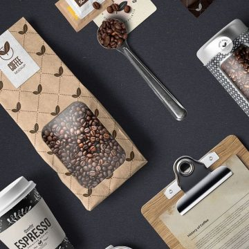 30+ Awesome Coffee Branding & Packaging Mockup Templates PSD