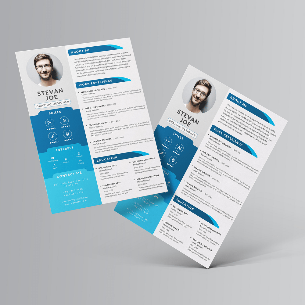 30 Free Creative Resume Templates PSD