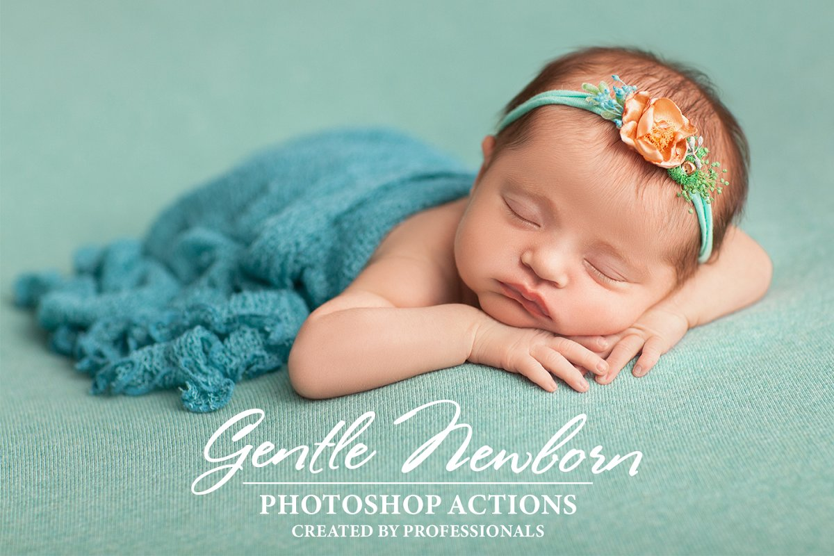 In the collection of photoshop actions for newborn photography you will find all necessary retouching techniques from skin tone fixing to smoothening