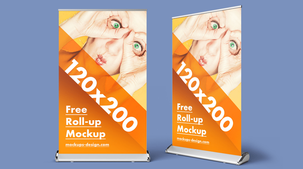 30+ Realistic Roll-Up Banner Mockup Templates PSD